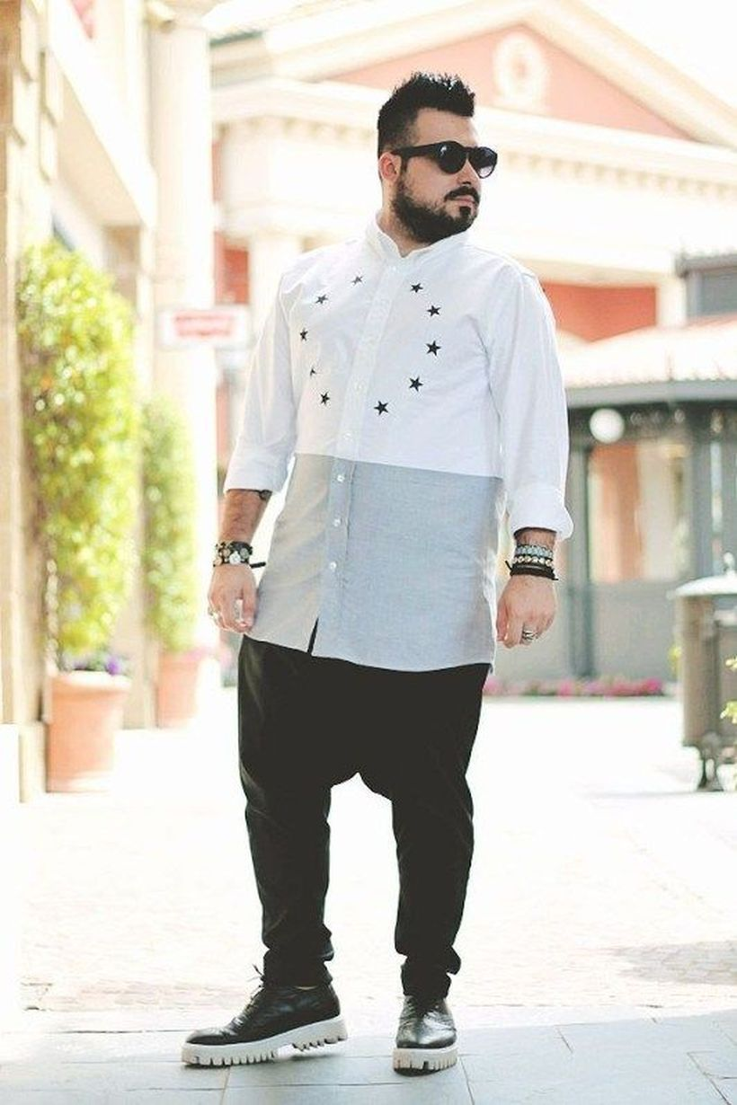 White and gray shirt with black jeans