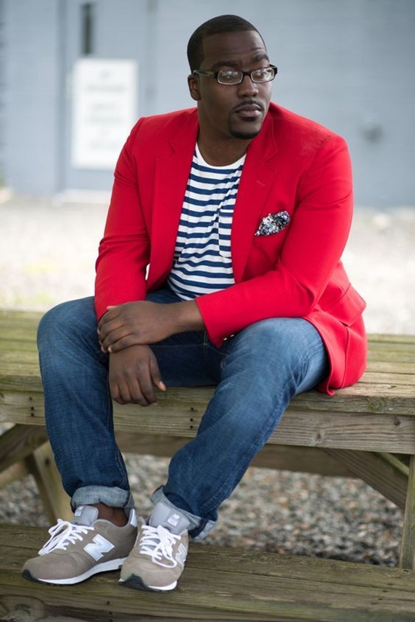 Red jacket with striped t-shirt