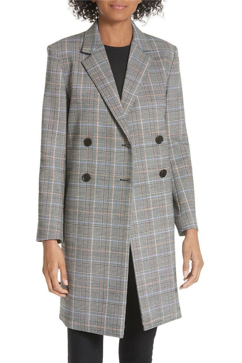 Best-women-outerwear-with-wool-plaid-overcoat-and-black-pants-for-your-style
