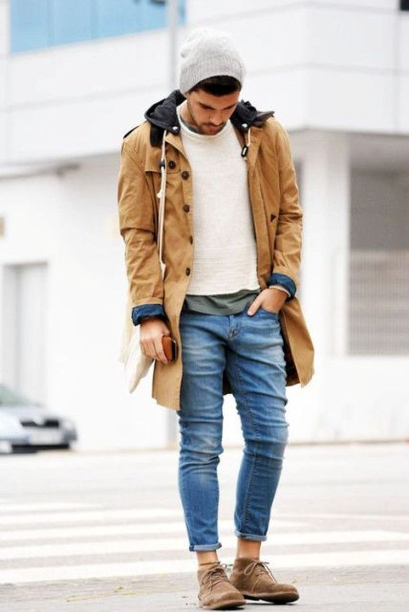 Best-outerwear-for-men-with-brown-coat-beige-knit-shirt-and-add-skullcap-for-your-style