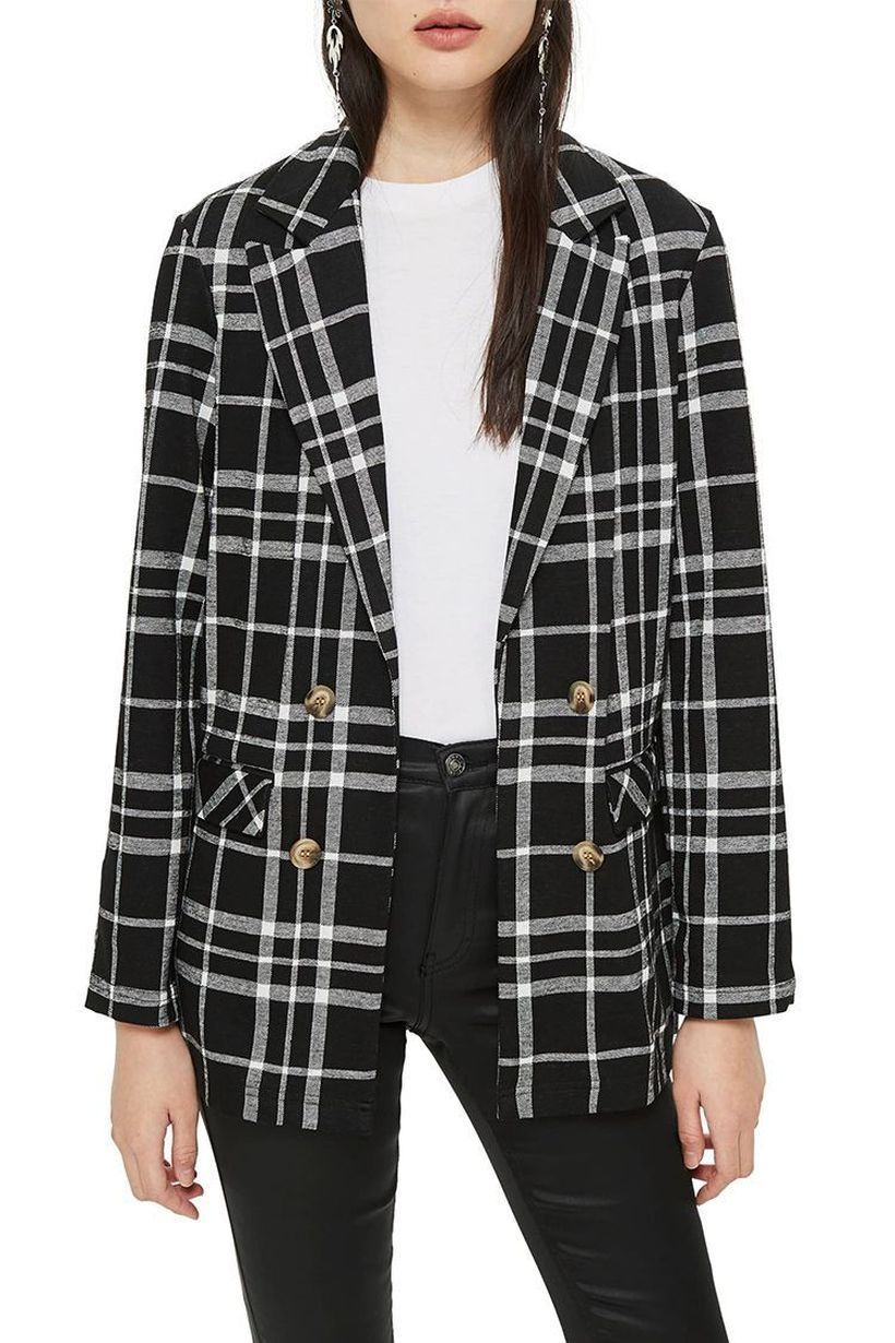 Monochrome-style-for-outerwear-with-a-plaid-blazer-white-t-shirt-to-look-cool-for-your-style