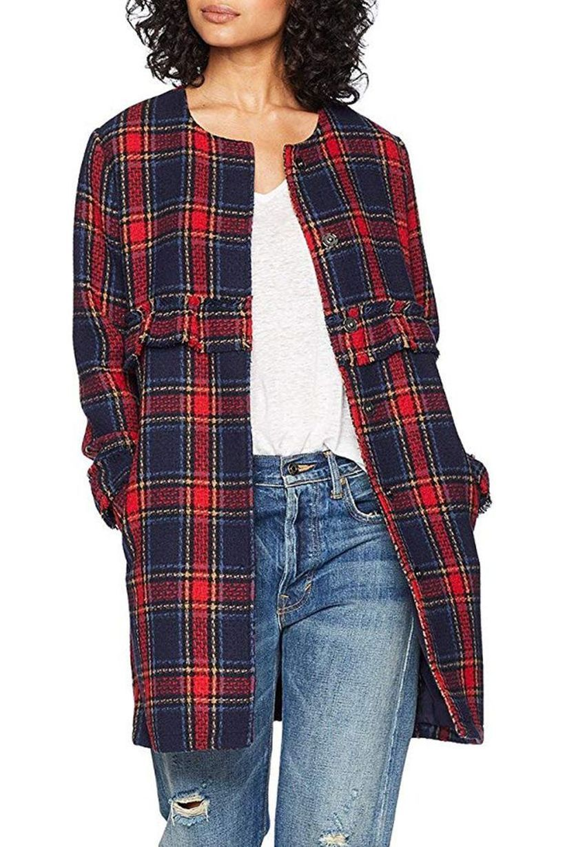 Cool-women-outerwear-with-plaid-coat-gray-t-shirt-and-blue-jeans-for-your-style