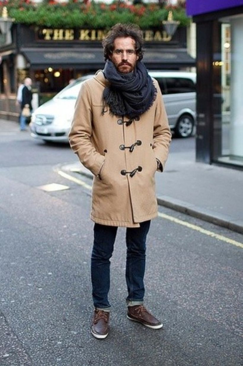 Simple-outerwear-with-brown-coat-blue-jeans-and-oversized-scarf-for-add-your-stylish