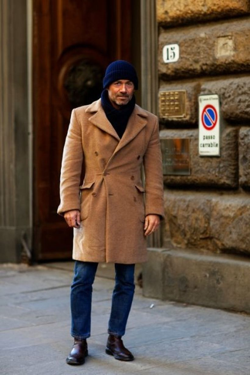 Comfortable-and-warm-men-outerwear-with-brown-coat-blue-jeans-and-blue-knit-skullcap-for-your-style
