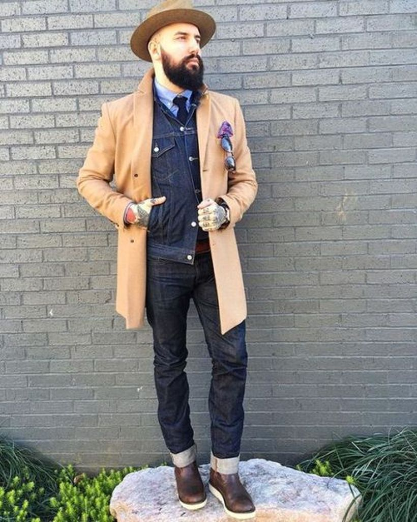 Simple-outerwear-with-brown-overcoat-denim-jacket-for-warms-up-and-add-round-hat-for-your-style