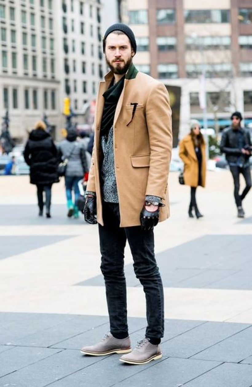 Most-best-outerwear-for-men-with-brown-overcoat-black-scarf-knit-skullcap-and-use-gloves-for-this-season