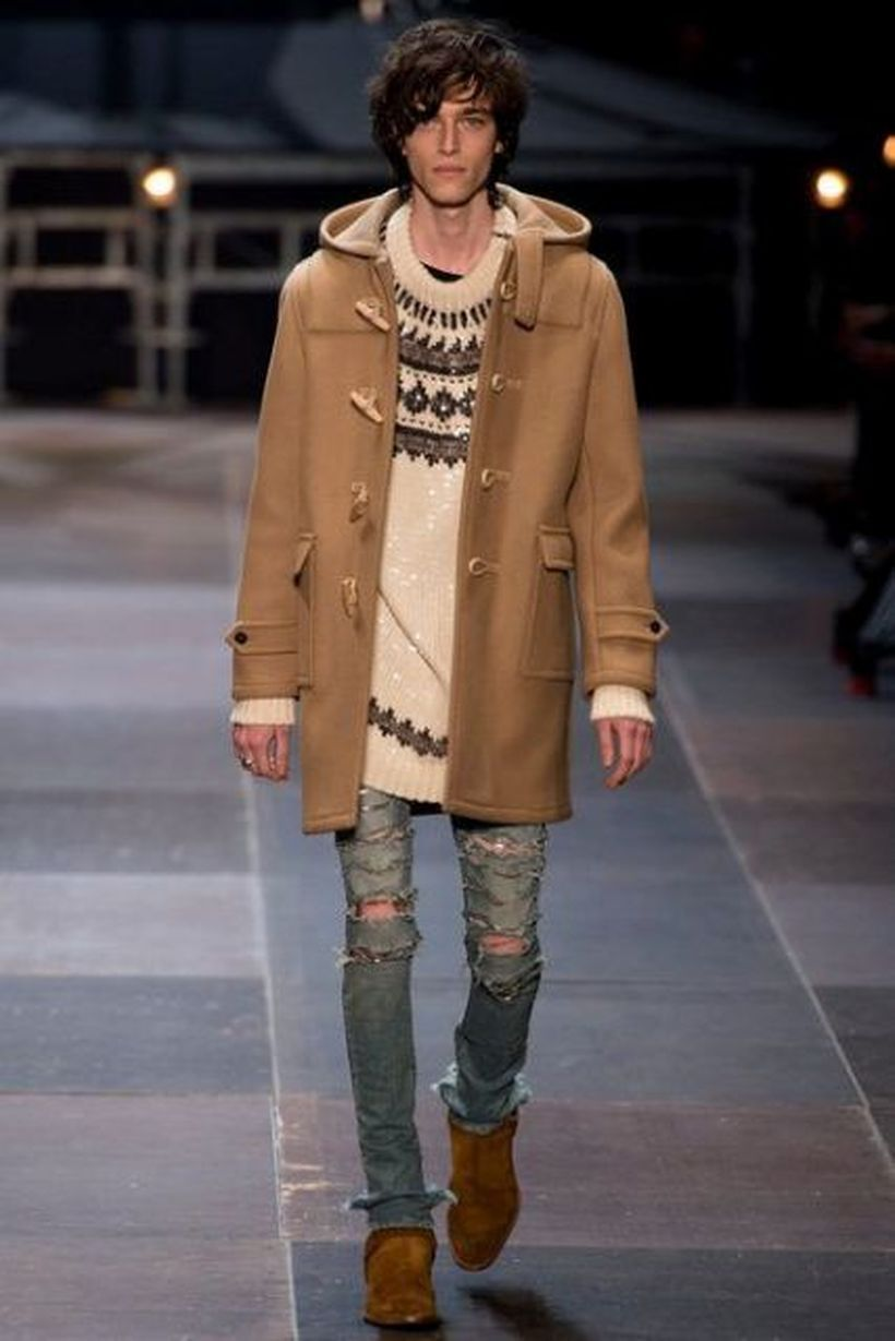 Most-awesome-outerwear-for-men-with-brown-coat-knit-sweater-and-ripped-jeans-to-look-cool
