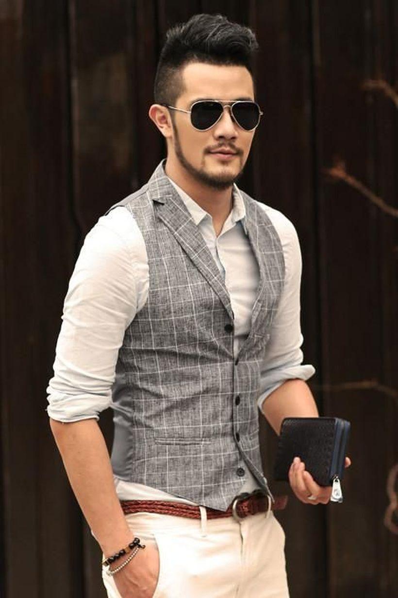 Grey-plaid-vest-and-long-sleeve-white-shirt