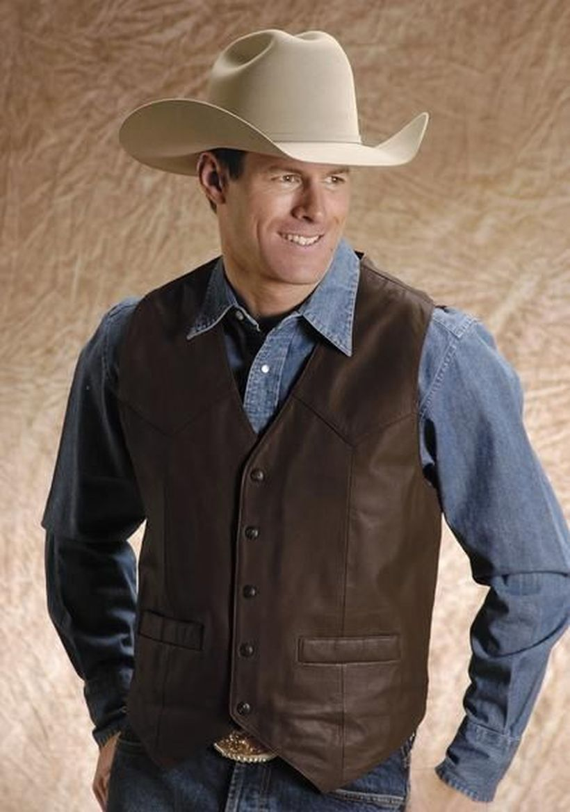 Long-sleeve-denim-shirt-with-leather-vest
