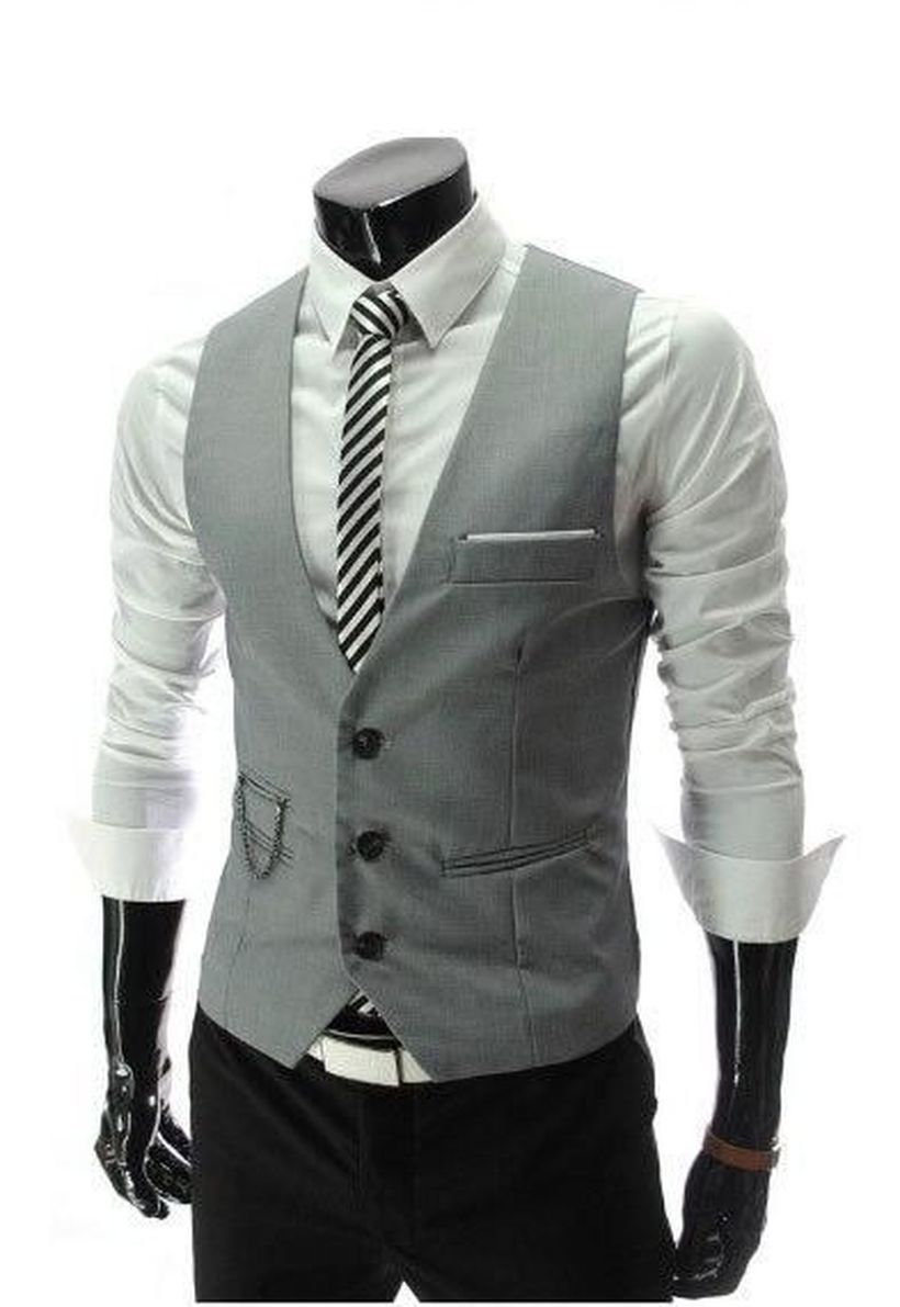 Simple-long-sleeve-white-shirt-and-grey-vest-for-men
