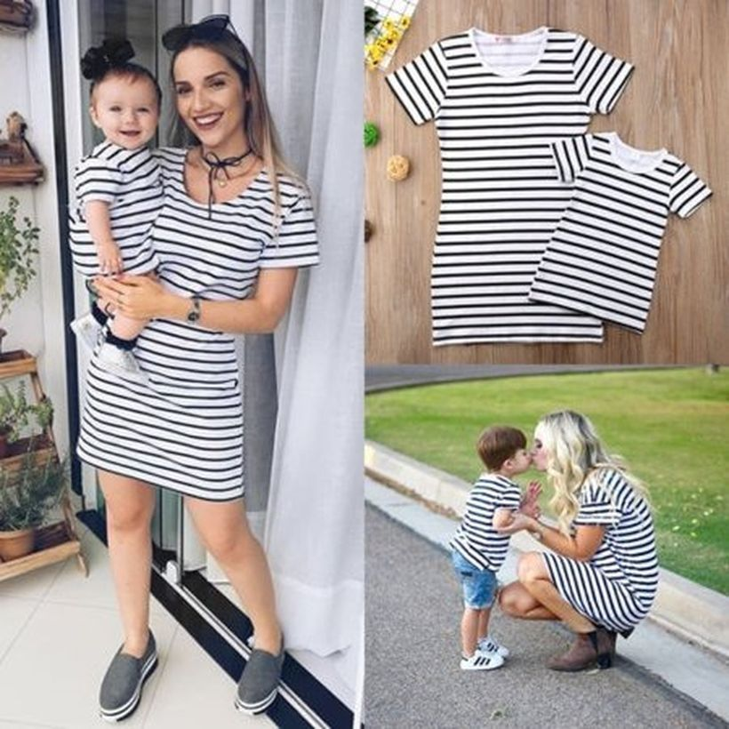 Chic-matching-outfit-for-mom-and-daughter-with-striped-dress-and-add-headband-for-daughter-to-look-beauty