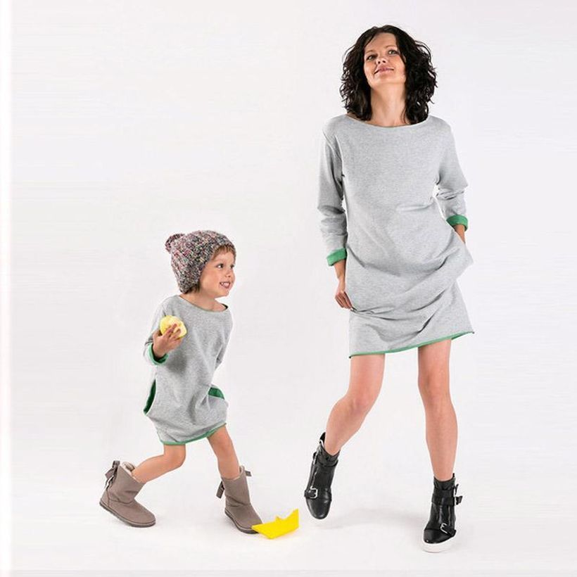 Casual-mother-daughter-dresses-autumn-solid-you-must-know