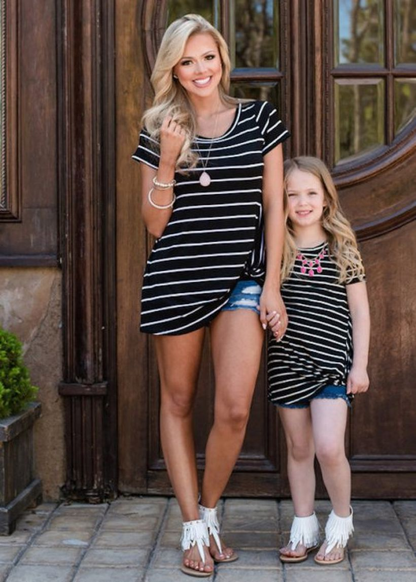 Casual-matching-outfit-for-mom-and-daughter-with-striped-long-shirt-and-denim-short
