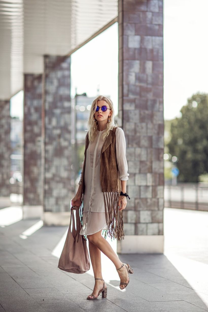 Best brown outer with gypsy style,  beige dress , beige bag and high heels to look elegant