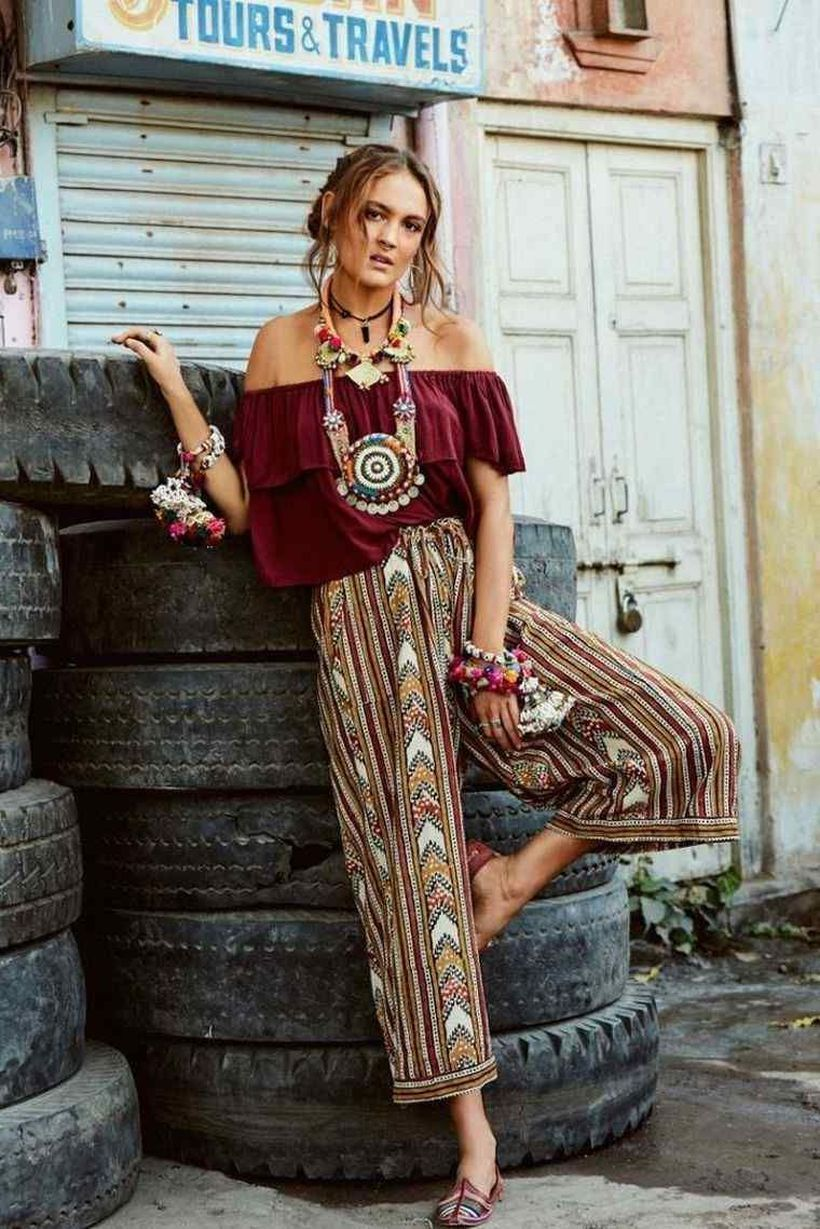 Long pants wide cut with gypsy style which is combined red t-shirt, and flat shoes