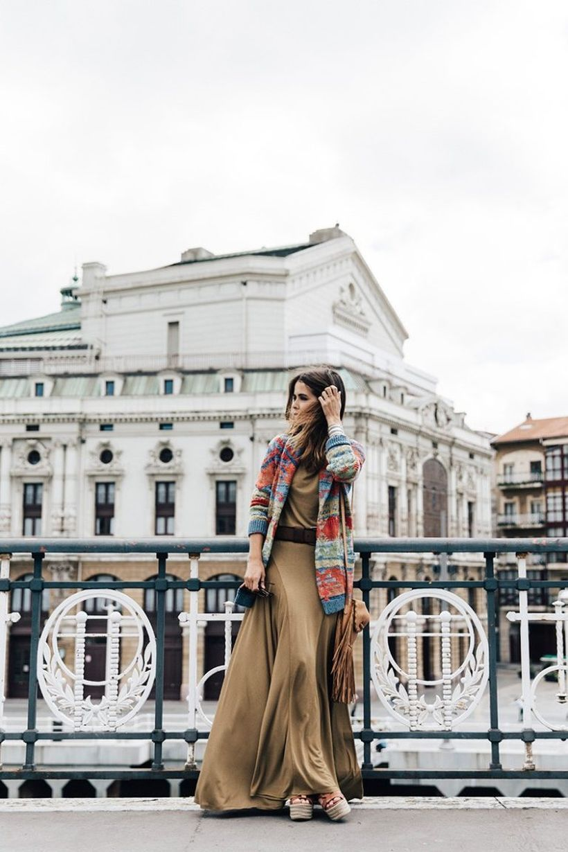 An Awesome colorful sweater with gypsy style combine long brown dress and high heels