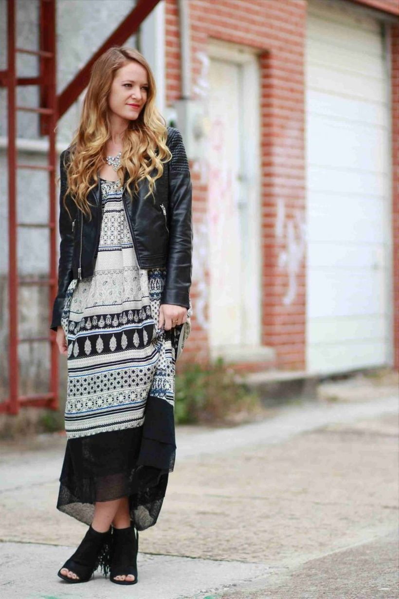 Long dress with gypsy style which is combined black and white pattern, black jacket and black shoes