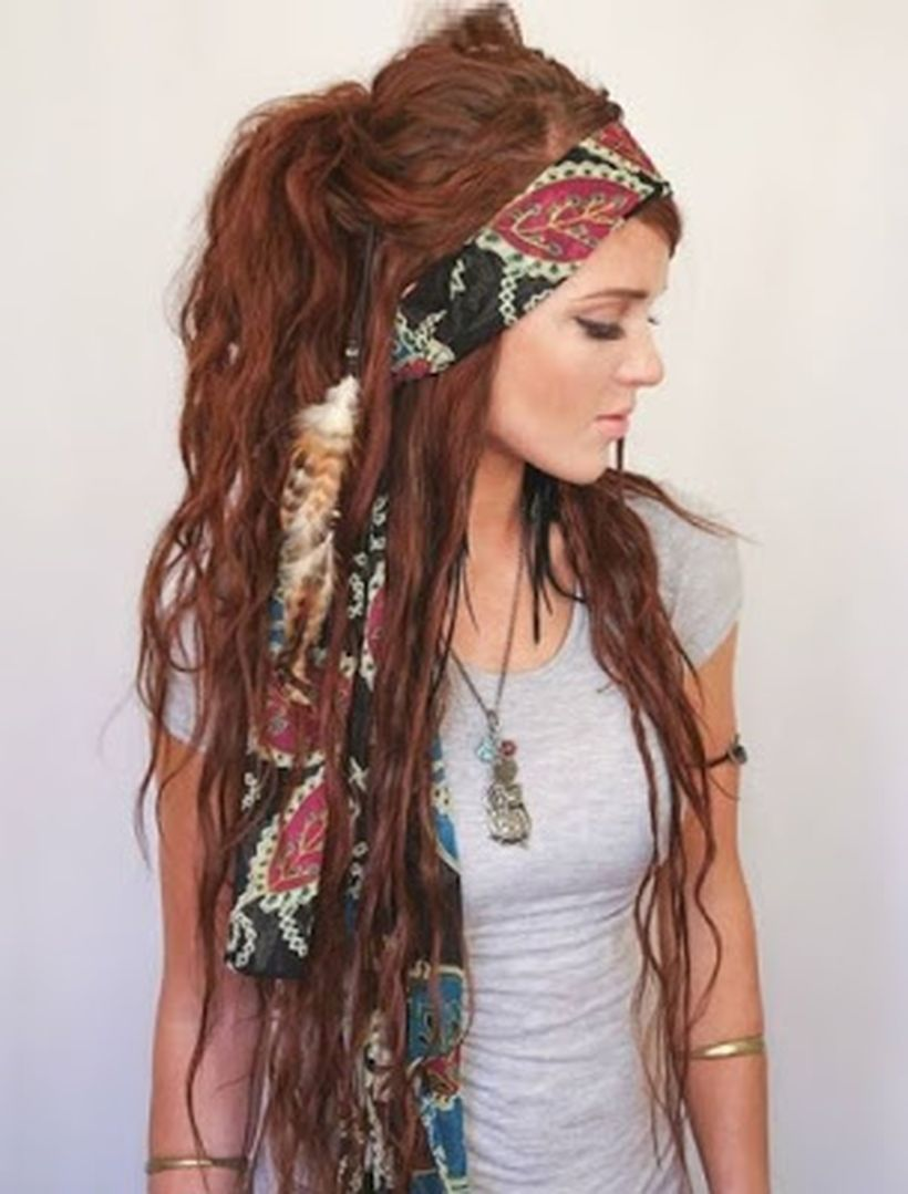 Long brown gypsy hair with long bandana leaves pattern for best style