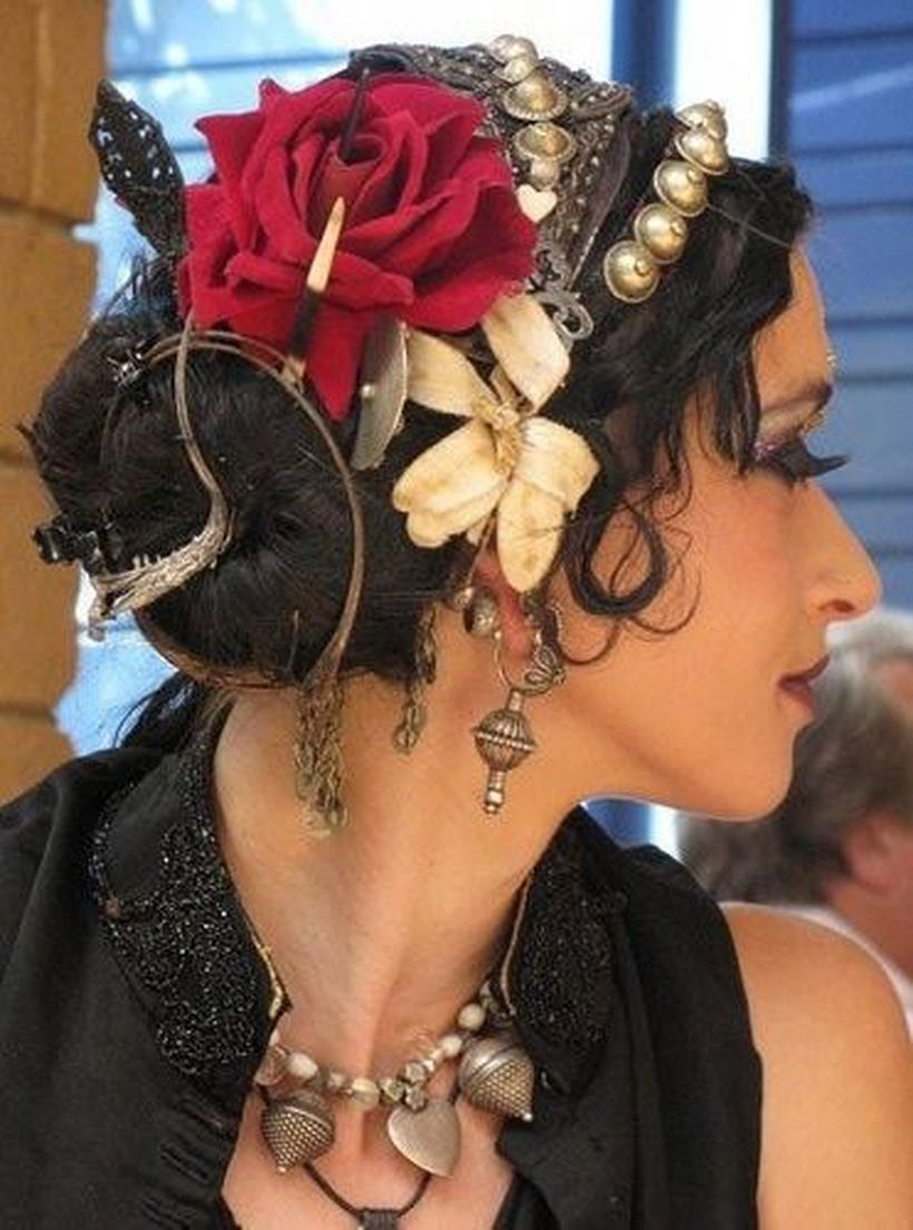 Black gypsy hair with bandana from iron, small bells and combined with red flowers