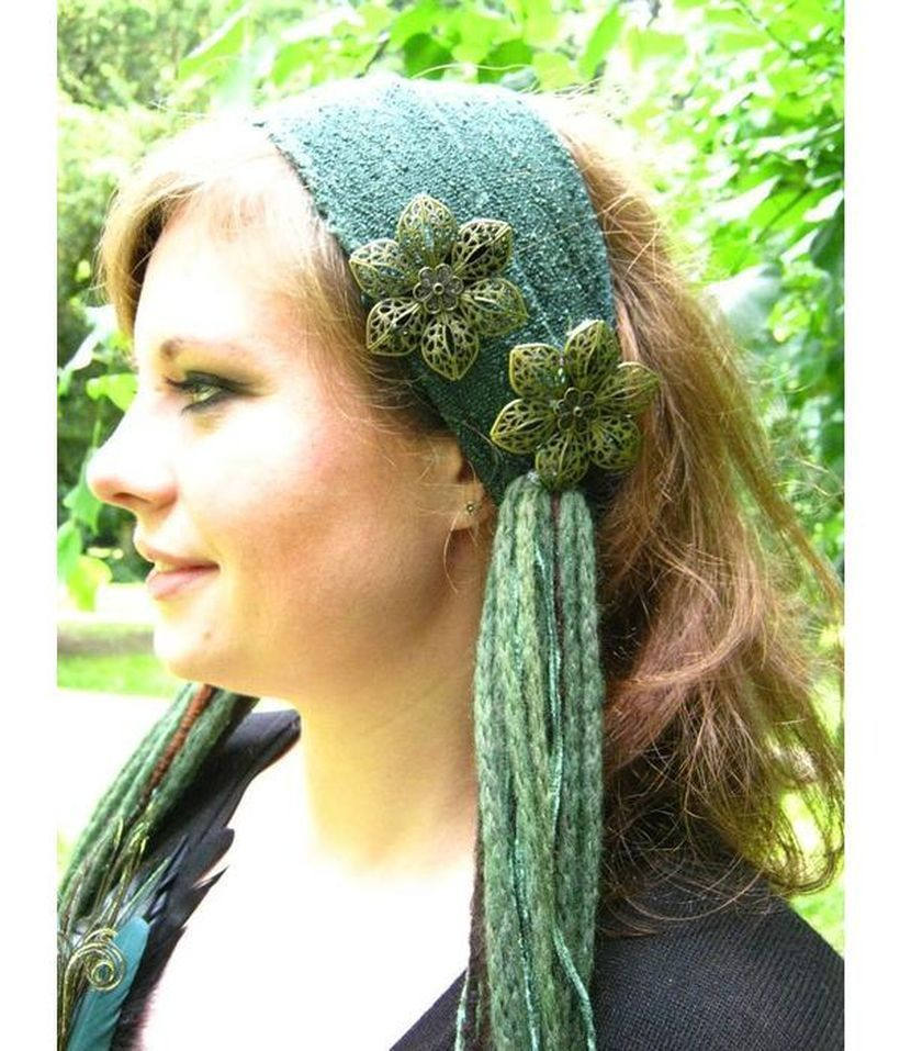 Stunning brown gypsy hair with green bandana green and flower hairpin combination