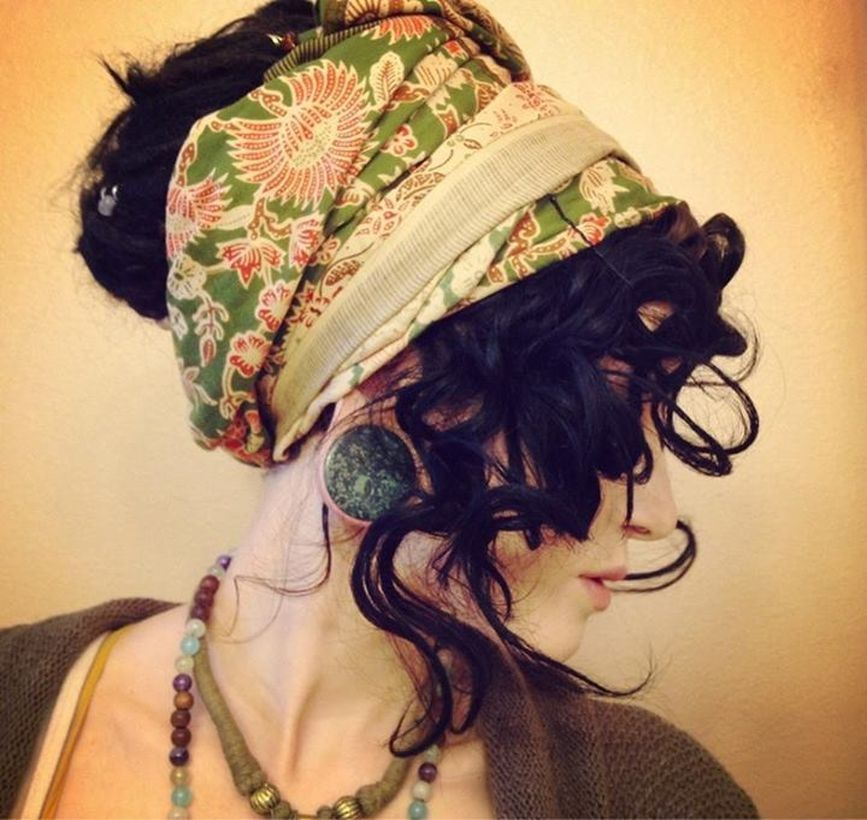 Black gypsy hair with green in flowers bandana to look amazing