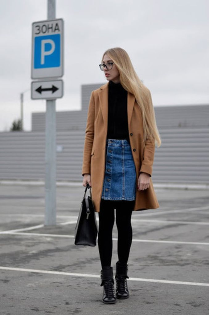 Perfect-combination-casual-outfit-style-that-consists-of-brown-coats-denim-skirt-and-black-legging-to-complete-your-style