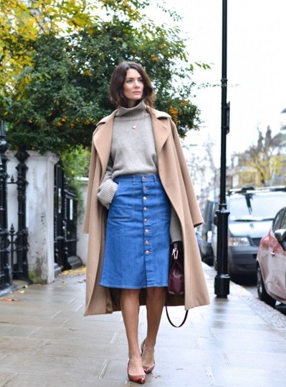 Inspired-outfit-that-consists-of-a-front-buttoned-midi-denim-skirt-high-neck-cream-gray-sweater-and-wool-long-coat-to-update-your-style