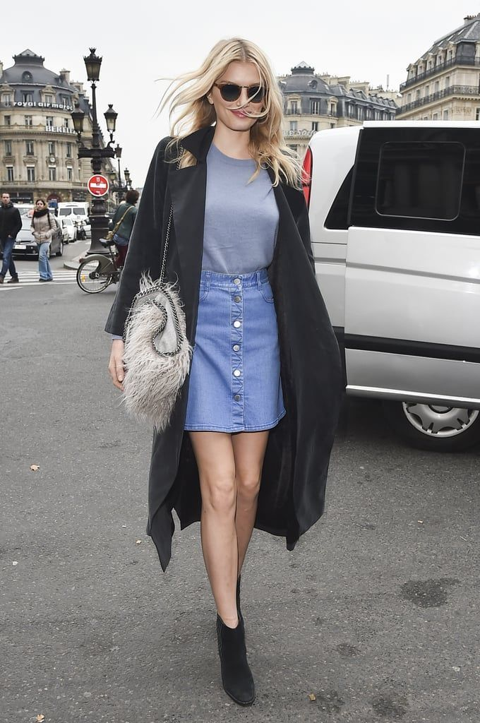 An-amazing-outfit-style-with-denim-skirt-and-simple-t-shirt-combined-with-black-coats-to-perfect-your-style