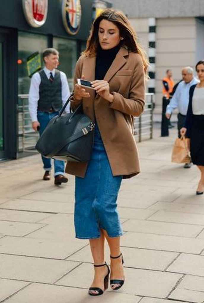 Inspiring-casual-outfit-that-consists-of-black-leather-heeled-sandals-blue-denim-midi-skirt-navy-turtleneck-brown-coat-to-complete-your-style
