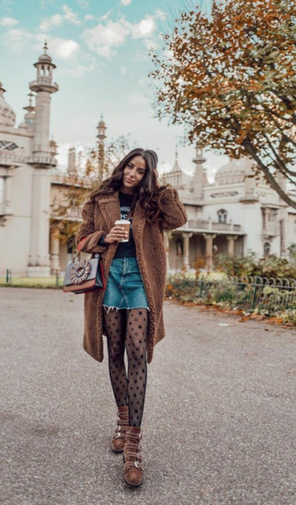 Beautiful-outfit-style-combined-with-teddy-coat-graphic-tee-and-denim-mini-skirt-to-perfect-your-style