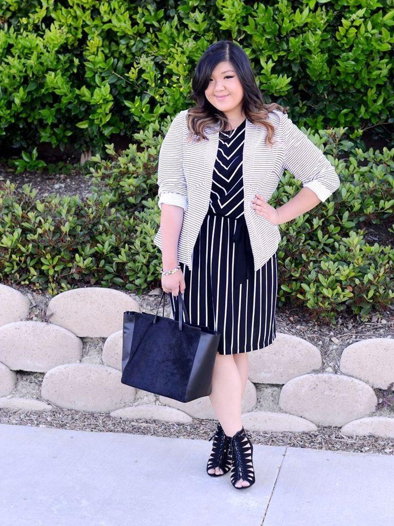 Striped black dress for women