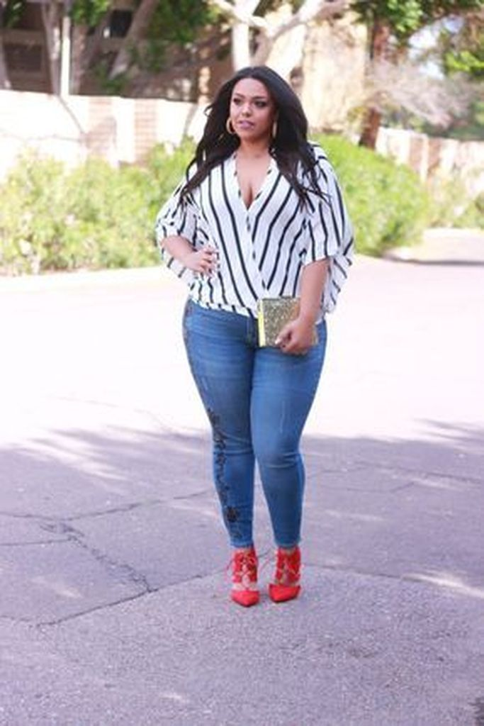Striped blouse combined with jeans