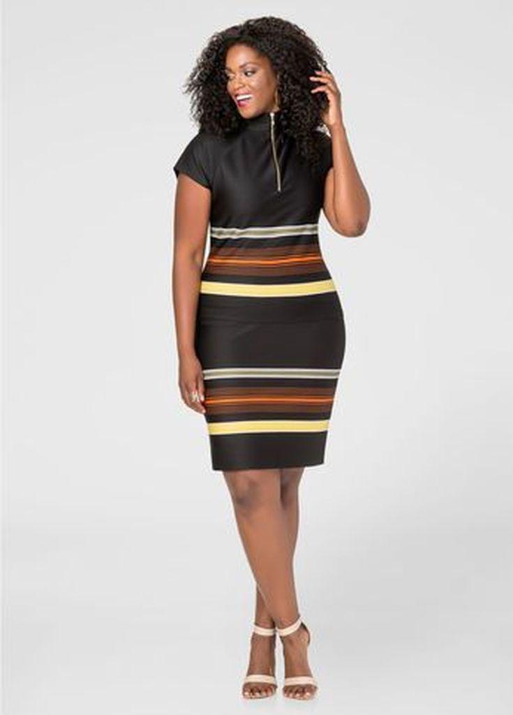 Striped black dress for plus size women