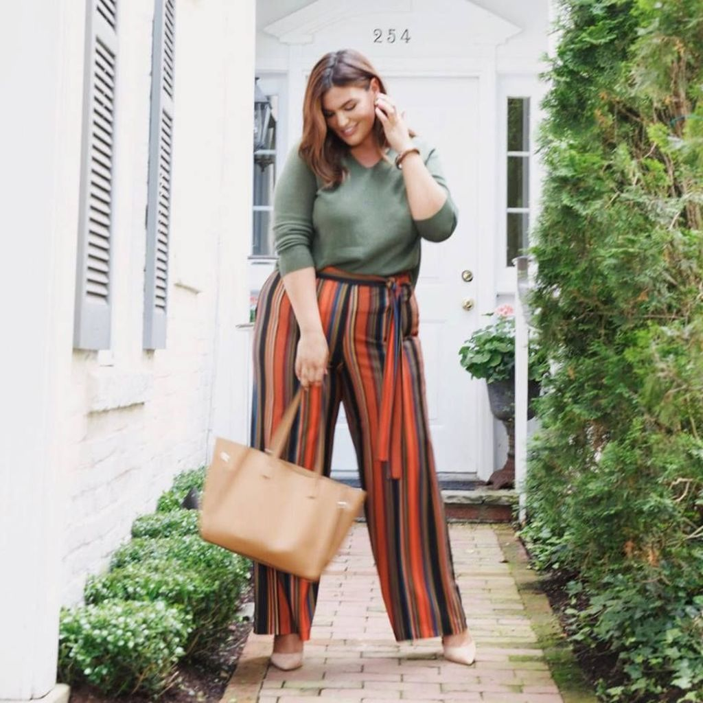 Striped pants combined with light green top