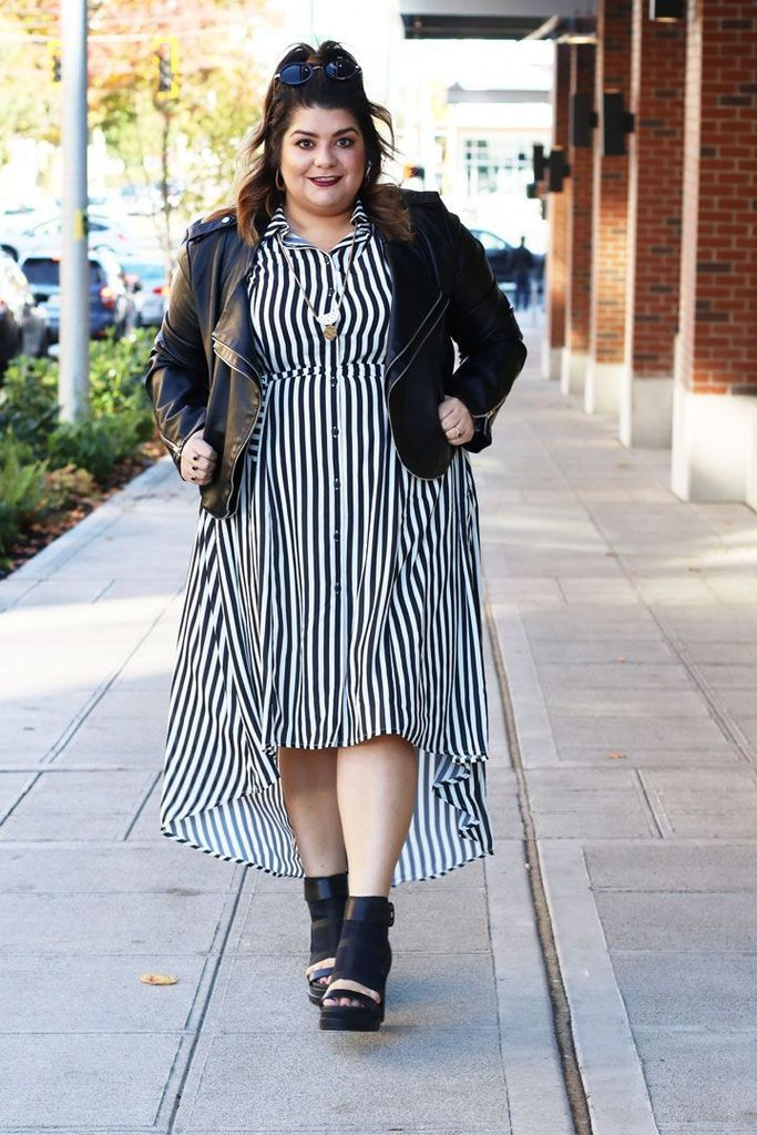 Striped dress combined with black leather jacket