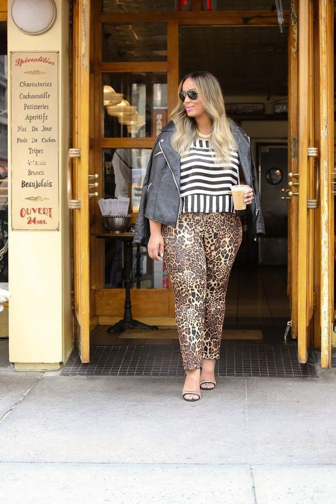 Striped top combined with leopard pants