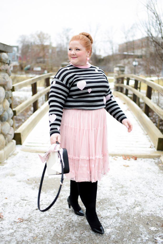 Striped top combined with skirt