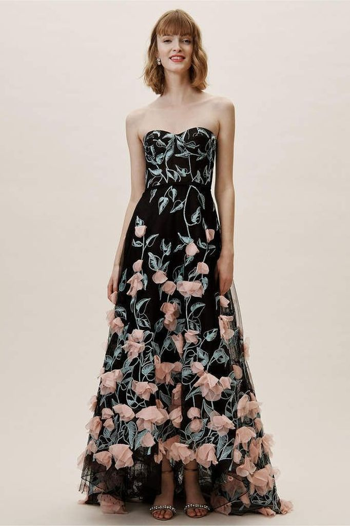 Floral porm dress in black