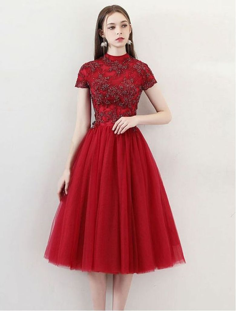 Pattern porm dress in red for women