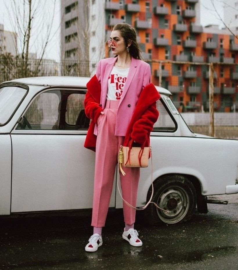 A-captivating-pink-mix-and-match-outfit-with-suits-in-pink-red-outer-and-also-sneakers-will-make-your-appearance-look-more-masculine-and-certainly-edgy.-