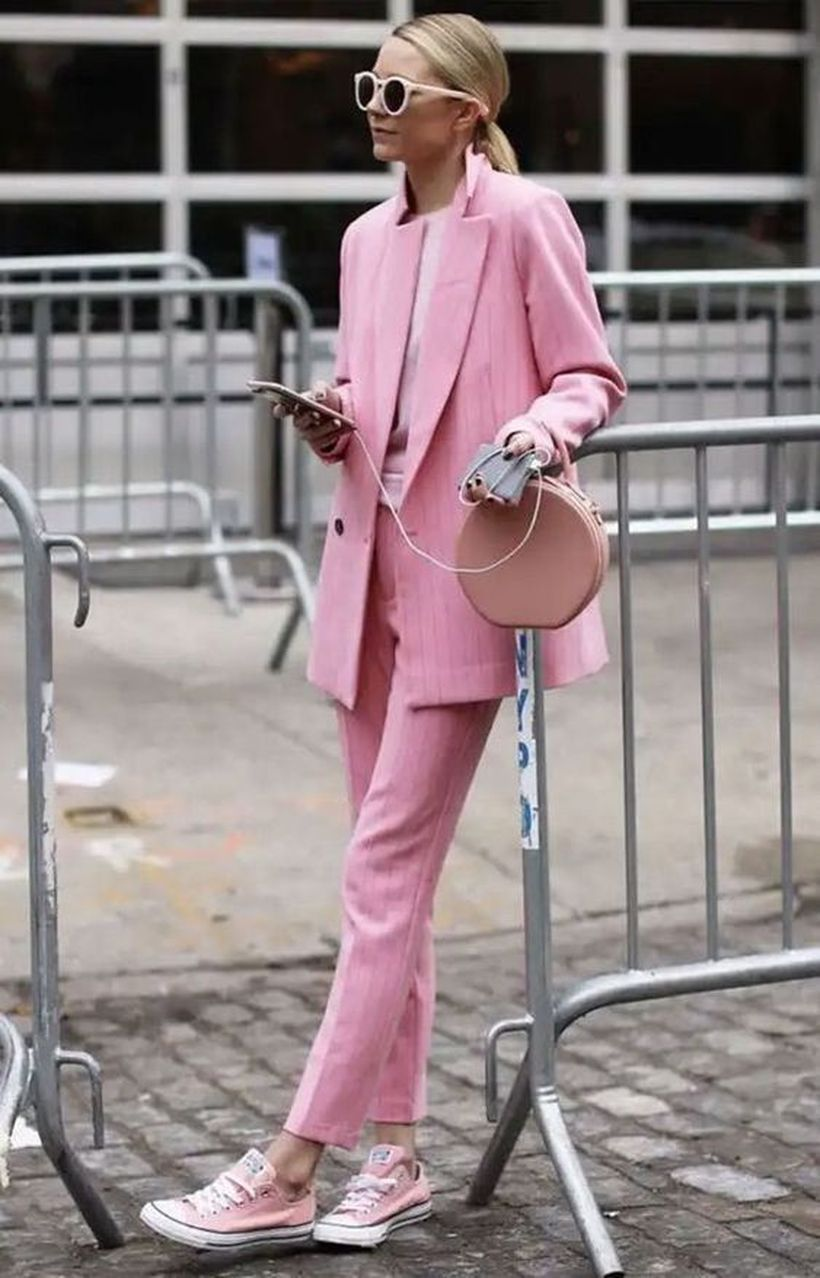 An-interesting-pink-monochrome-outfit-with-long-pink-sweater-pink-top-pink-handbag-pink-trousers-and-pink-shoes-sneaker-to-wear-all-day-long.-