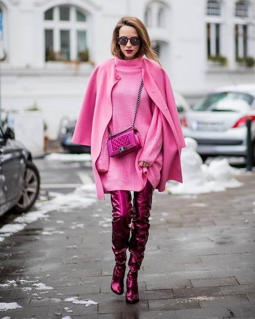 An-awesome-pink-monochrome-outfit-with-pink-sweater-pink-blazer-pink-sling-bag-pink-boots-and-pink-trousers.-