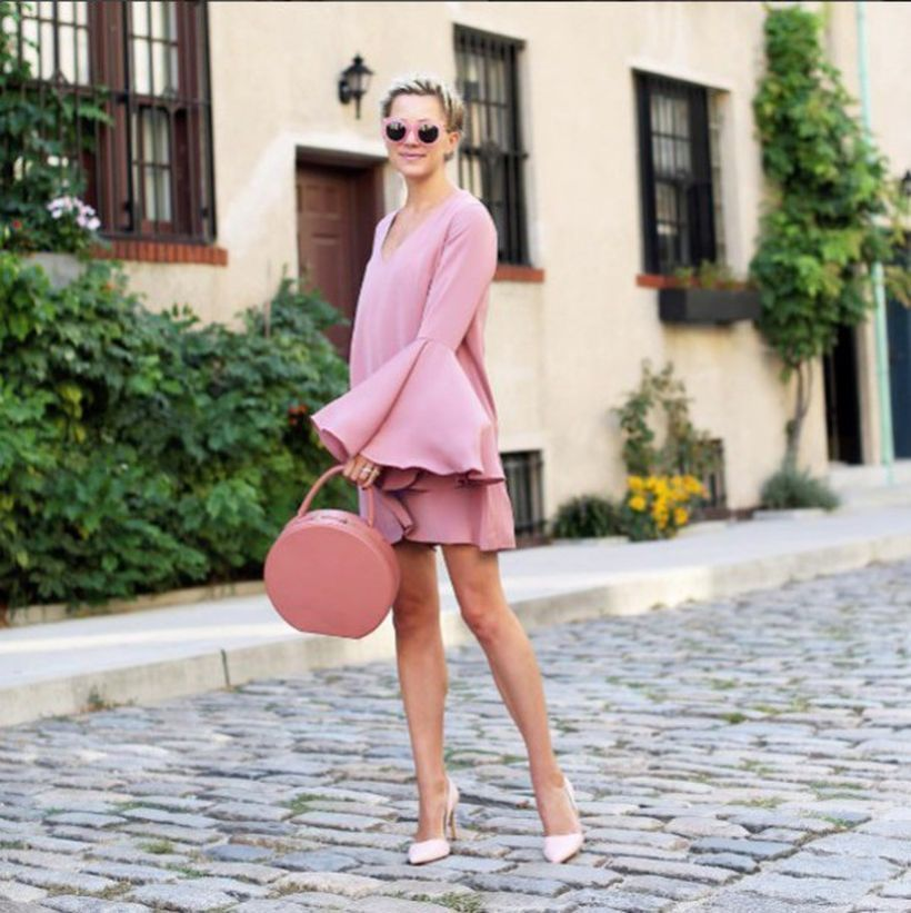 An-exciting-pink-monochrome-outfit-with-long-dress-pink-pink-folding-skirt-round-pink-bag-pink-high-heel-and-pink-sunglasses-to-impress-everyone.-