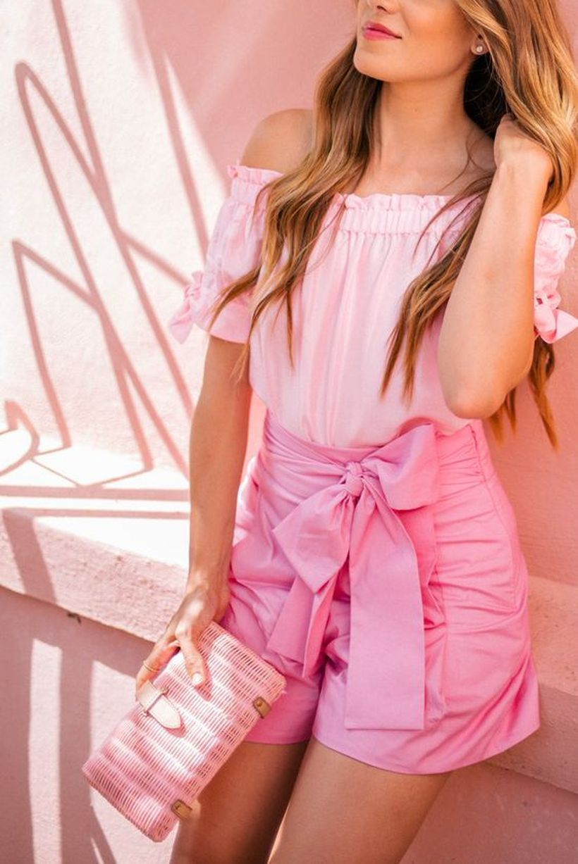 An-attractive-pink-monochrome-outfit-with-pink-top-moto-pink-metallic-skirt-and-pink-handbag-that-has-always-been-your-favorite.-