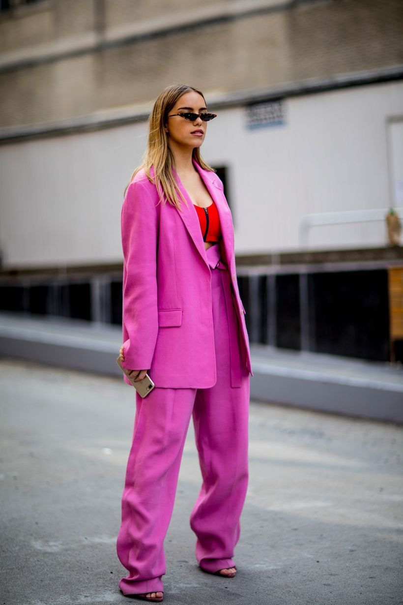 An-impressive-pink-monochrome-outfit-with-pink-blazer-magenta-top-pink-trousers-and-pink-shoes.-