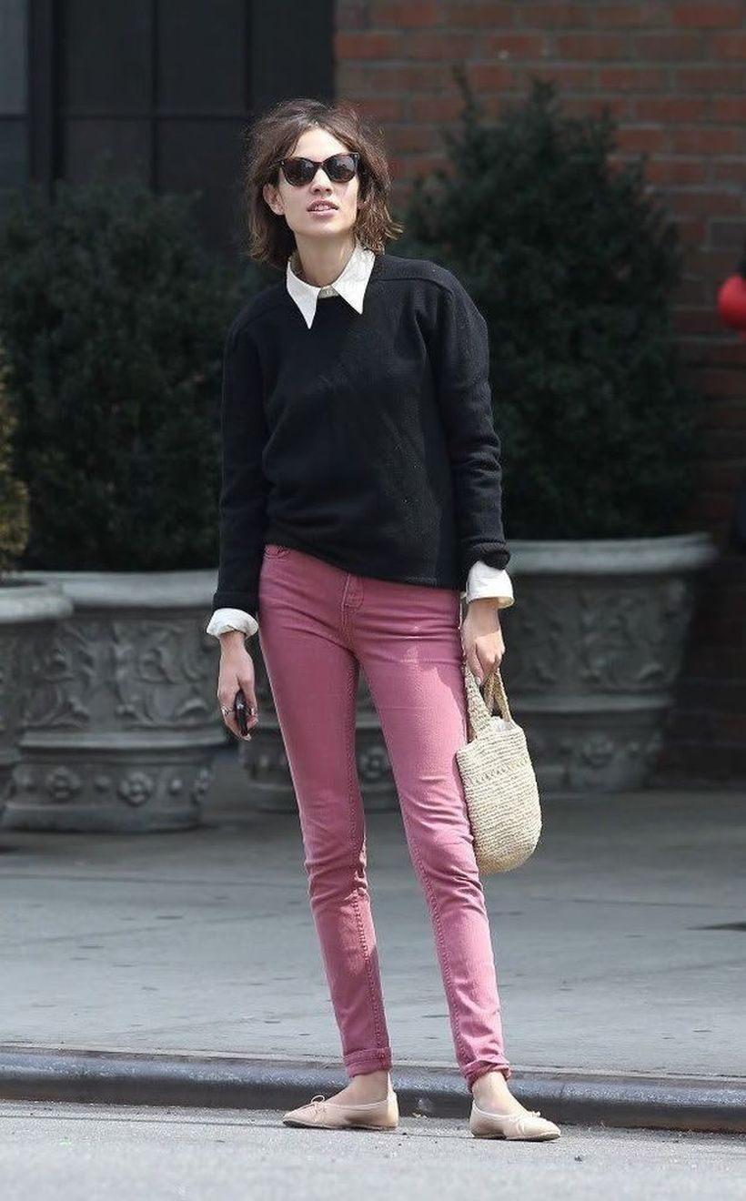 A-magnificent-pink-mix-and-match-outfit-with-pink-jeansa-white-shirt-wrapped-in-a-black-sweater-you-need-to-try.-