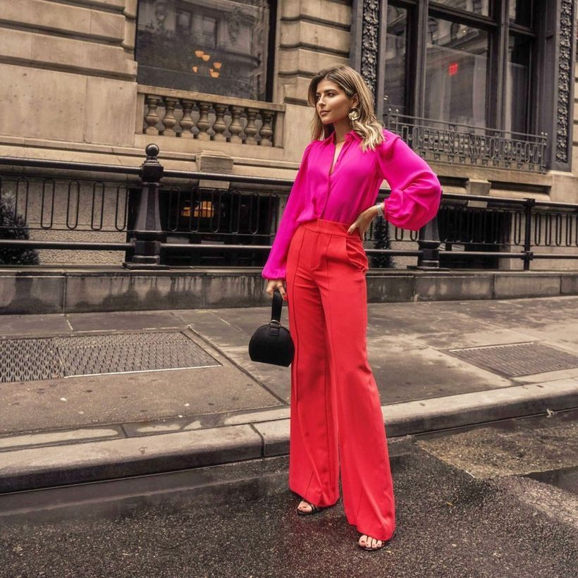 A-gorgeous-pink-mix-and-match-outfit-with-blending-hot-pink-blouse-and-red-statement-pants-dont-forget-handbag-so-the-style-gets-more-trendy.-
