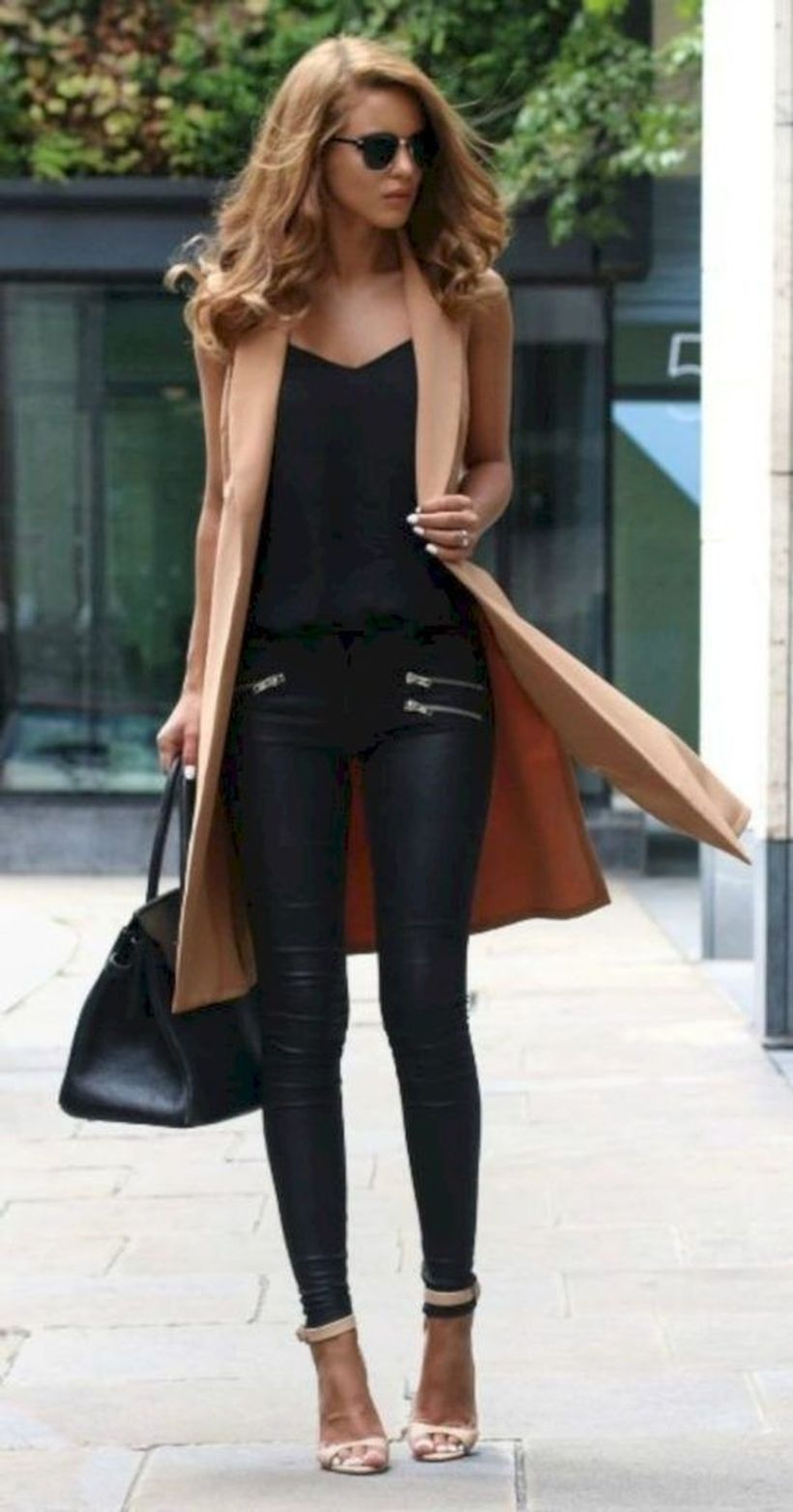 Beige-long-outer-and-black-t-shirt