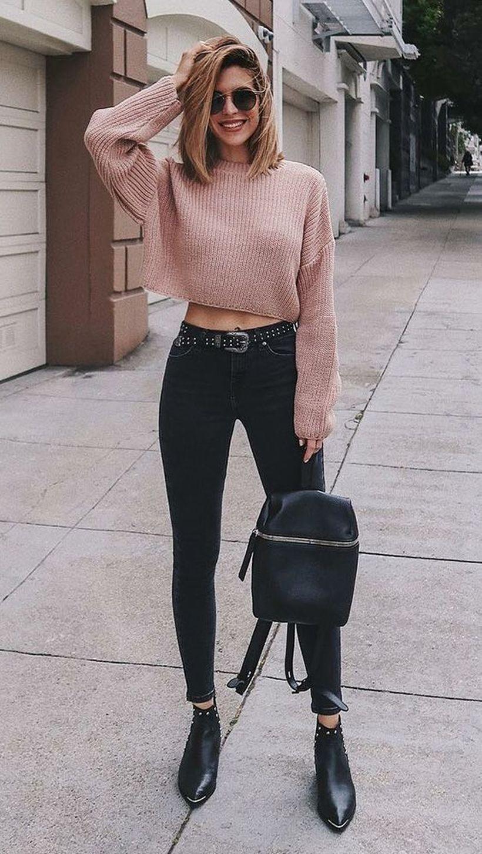 Beige-knit-sweater-and-denim-black