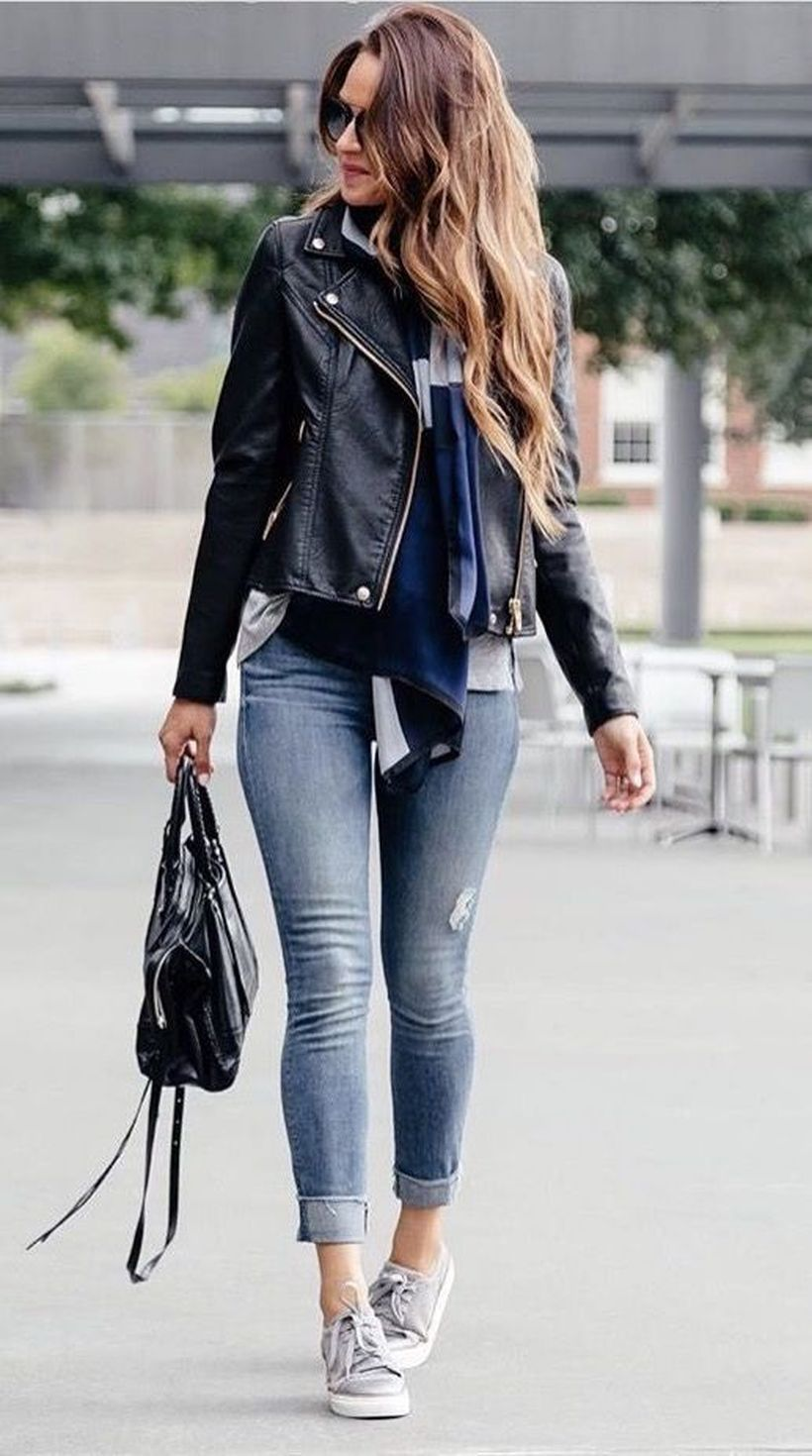 Black-leather-jacket-and-blue-jeans